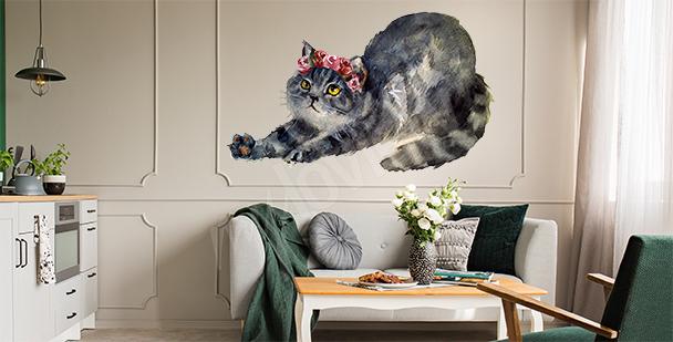 Naklejka kot z kwiatami