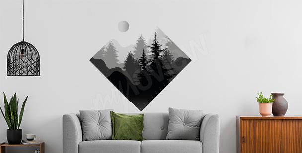 Naklejka las o geometrycznym kształcie