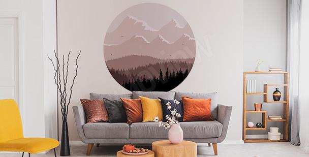 Naklejka las w kształcie koła