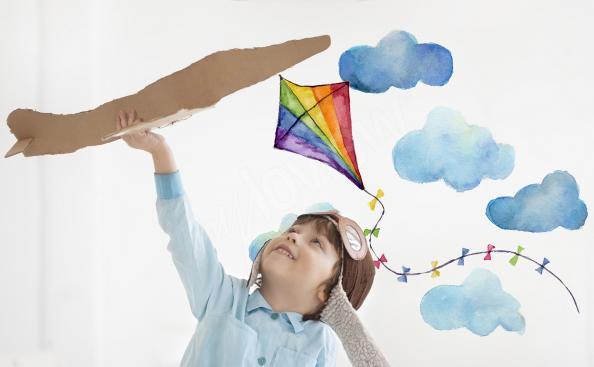 Naklejka latawiec i chmury dla chłopca