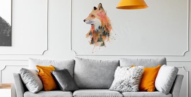 Naklejka lis w akwareli