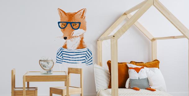 Naklejka lis w okularach