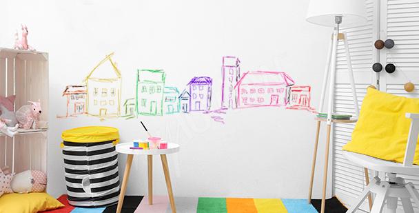 Naklejka malowane kolorowe domki