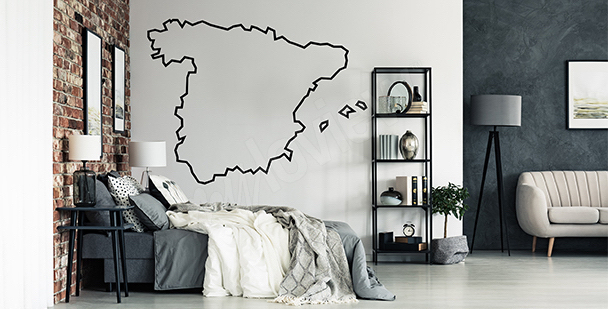 Naklejka mapa konturowa Hiszpanii