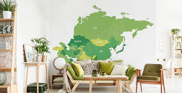 Naklejka mapa polityczna Azji