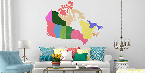 Naklejka mapa polityczna Kanady