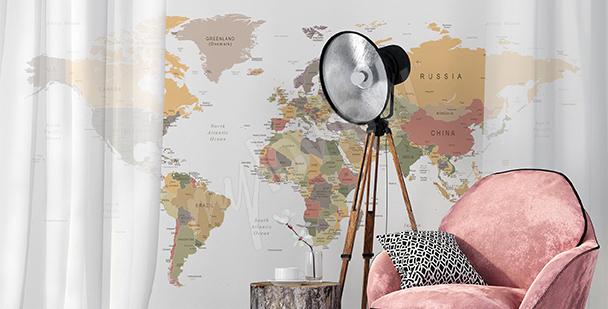 Naklejka mapa retro do salonu