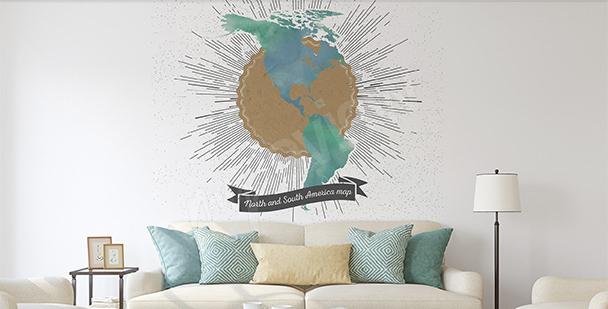 Naklejka mapa retro obu Ameryk