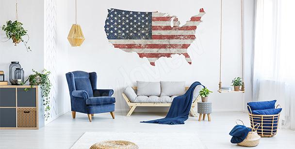Naklejka mapa retro USA