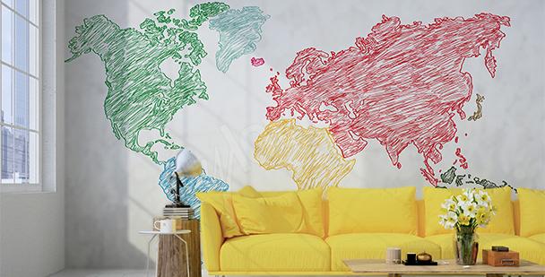 Naklejka mapa rysowana kredkami