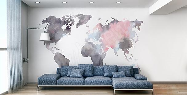 Naklejka mapa świata akwarela