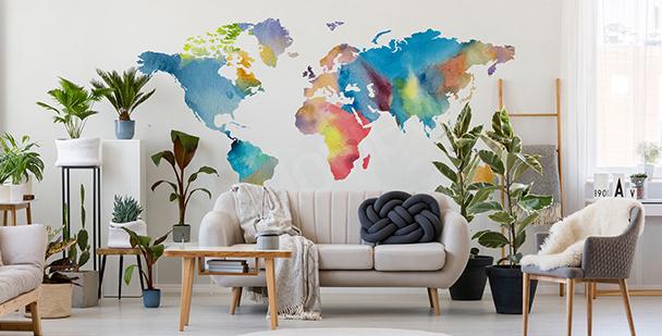 Naklejka mapa świata w akwareli