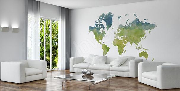 Naklejka mapa świata w stylu eko