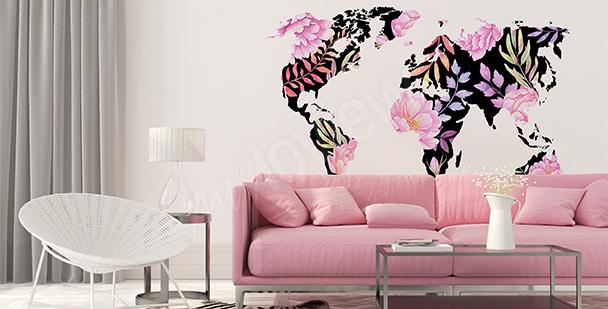 Naklejka mapa świata z kwiatów