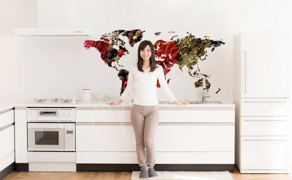 Naklejka mapa świata z przyprawami
