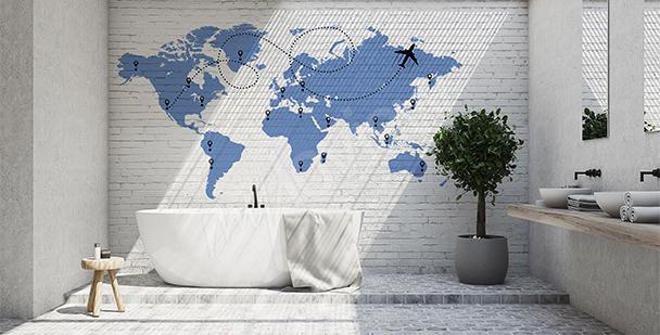 Naklejka mapa świata z samolotem