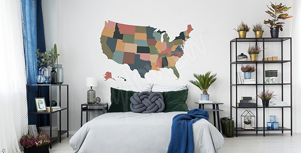 Naklejka mapa USA vintage