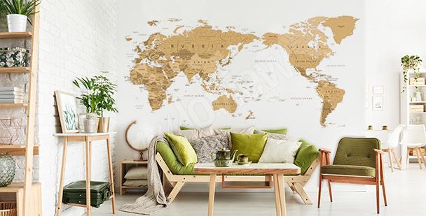 Naklejka mapa vintage do salonu