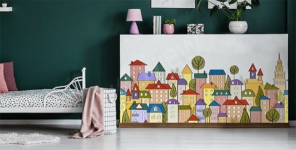 Naklejka miasto z kreskówki