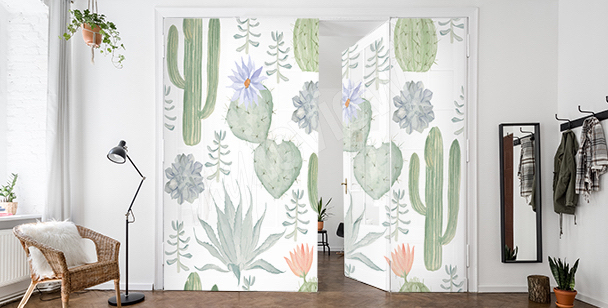 Naklejka na drzwi z kaktusami