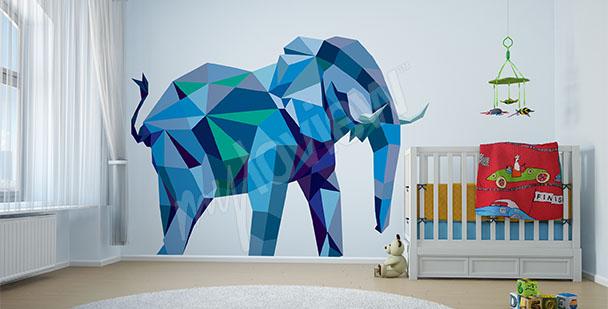 Naklejka niebieski słoń