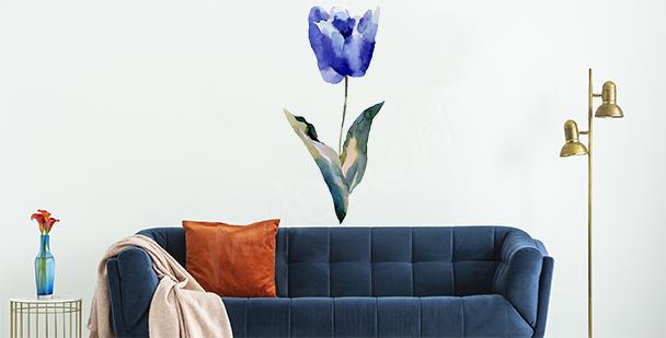 Naklejka niebieski tulipan
