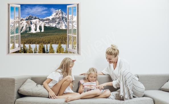 Naklejka okno z panoramą