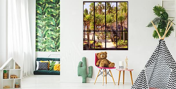 Naklejka okno z tropikalnym widokiem