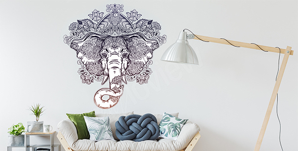 Naklejka ornament ze słoniem