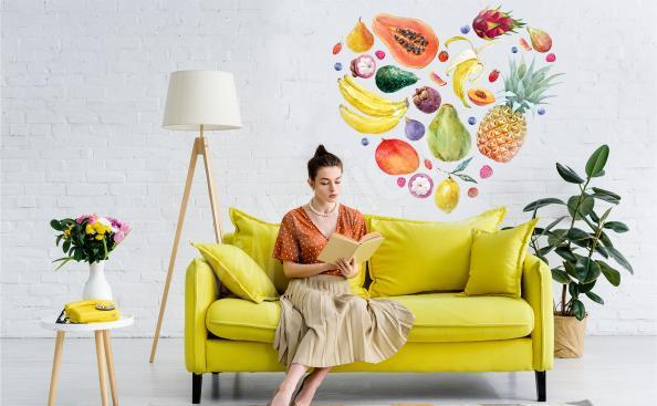 Naklejka owoce tropikalne