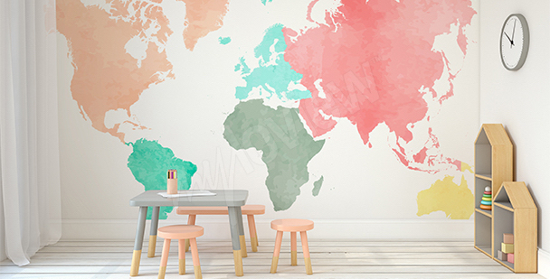 Naklejka pastelowe kontynenty