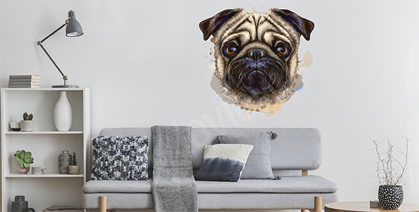 Naklejka pies akwarela