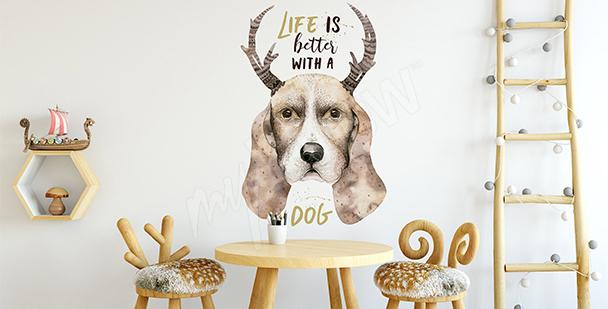 Naklejka pies w stylu skandynawskim