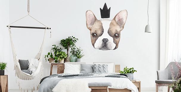 Naklejka pies z koroną