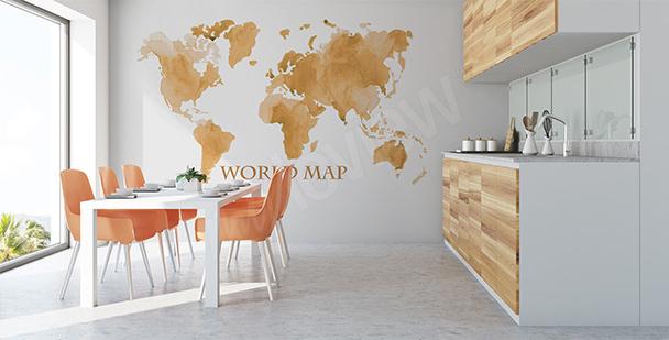 Naklejka postarzana mapa świata