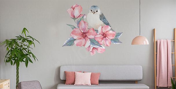 Naklejka ptak i kwiaty