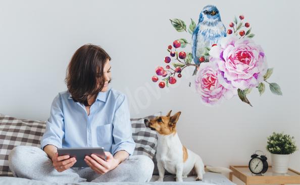 Naklejka ptak malowany akwarelą