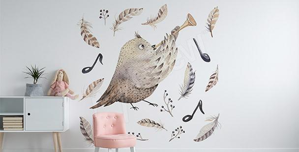 Naklejka ptak-muzyk dla dziewczynki