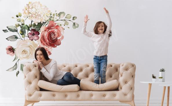 Naklejka róże i hortensja
