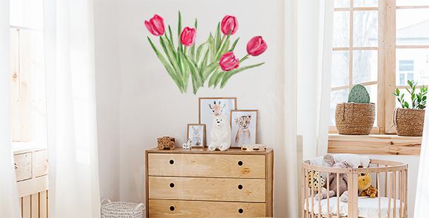 Naklejka różowe tulipany