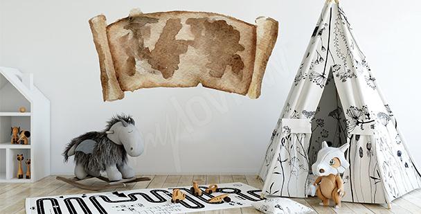 Naklejka stara mapa do pokoju dziecka