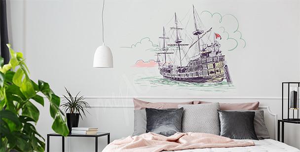 Naklejka stary okręt