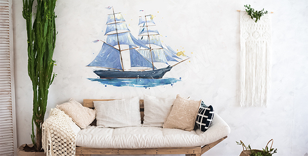 Naklejka statek akwarela