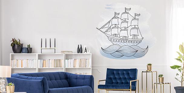 Naklejka statek na morzu