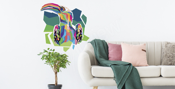 Naklejka tukan w stylu pop art