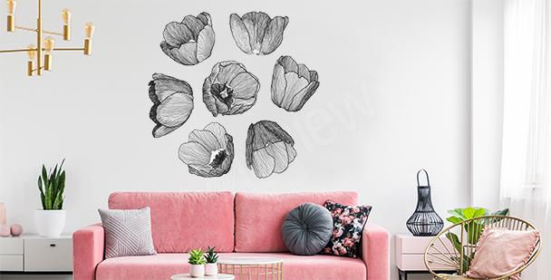 Naklejka tulipany czarno-biała