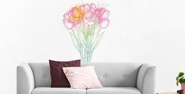 Naklejka tulipany malowane kredką