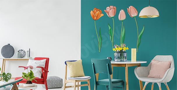 Naklejka tulipany ręcznie malowane