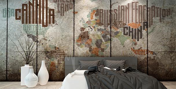 Naklejka typograficzna mapa świata