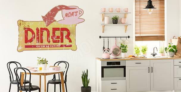Naklejka typograficzna retro do kuchni